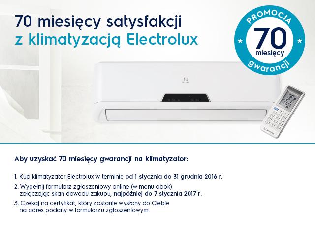 70 miesiecy gwarancji ELECTROLUX grafika promocji