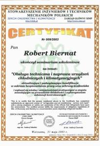 Certyfikat chłodniczy