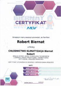 Certyfikat MDV montaż i serwisowanie urządzeń MDV SPLIT, MDV Multi, MDV Office