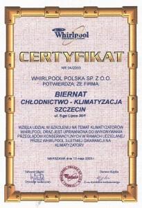 Certyfikat Whirlpool
