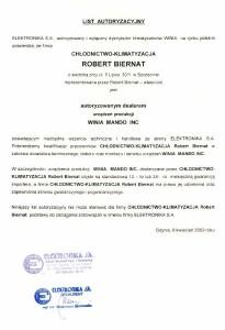 Certyfikat Winia