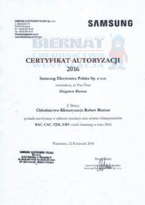 Certyfikat autoryzacji samsung electronics instalacja i autoryzacja klimatyzatorow