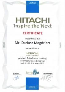Certyfikat Hitachi